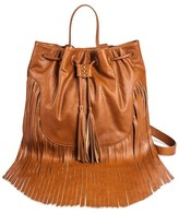 Mossimo Women's Cinch Top Fringe Backpack Faux Leather Handbag Brown