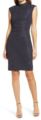 Eliza J Cap Sleeve Glitter Knit Sheath Cocktail Dress