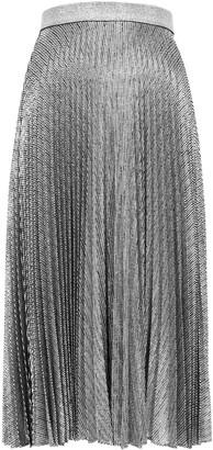 Christopher Kane Silver foil-print pleated midi skirt