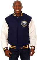 JH Design Buffalo Sabres Men's Wool & Leather Jacket with Hand Crafted Leather Team Logos