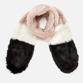 Maison Scotch Women's Faux Fur Scarf Blush/Black
