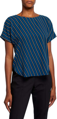 Anne Klein Double Bias-Stripe Short-Sleeve Blouse