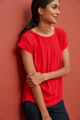 Next Womens Red Woven Boxy T-Shirt - Red