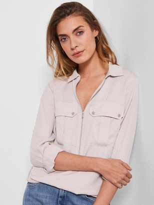Mint Velvet Utility Zip Front Shirt - Neutral