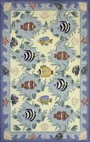 Momeni Rugs COASTCC-01BLU2030 Coastal Collection, 100% Cotton Hand Hooked Transitional Area Rug
