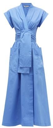 Three Graces London Clarissa Cotton-poplin Wrap Dress - Womens - Blue