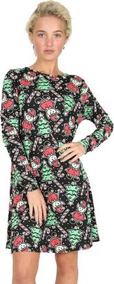 Fashion Star Womens Ladies Christmas Prints Long Sleeves Round Neck Xmas Swing Mini Dress M/L (US 8/10) Elves and Candy Black