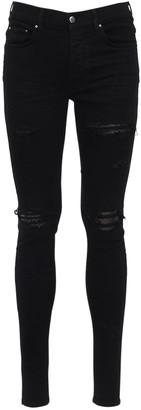 Amiri Cotton Denim Jeans W/ Leather Patches