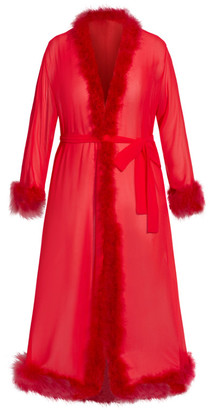 City Chic Marabou Trim Long Robe - red