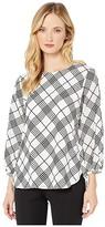 Calvin Klein Grid Long Sleeve Blouse (Soft White/Black) Women's Blouse