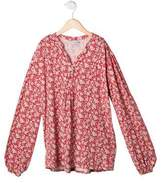 Papo d'Anjo Girls' Floral Print Long Sleeve Top