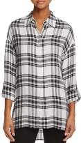 Alice + Olivia Mellie Oversized Roll-Cuff Plaid Shirt