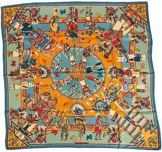 One Kings Lane Vintage Hermes Teal & Orange Silk Kachinas Scarf - Vintage Lux