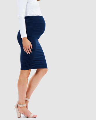 Bamboo Body - Women's Navy Pencil skirts - Ruched Skirt - Size One Size, XS at The Iconic