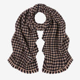 Bally Houndstooth Jacquard Wool Scarf Beige, Women's jacquard wool scarf in multi-beige