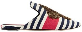 Sanayi 313 Embroidered Striped Canvas Mules