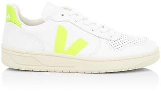 Veja V-10 Neon Leather Low-Top Sneakers