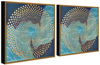 Chic Home Design Veneta 2Pc Set Framed Wrapped Canvas Wall Art