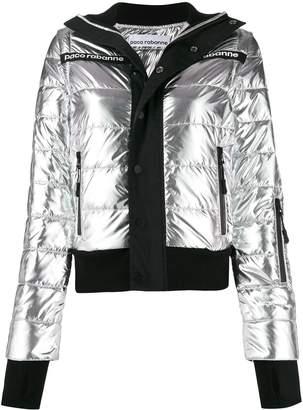 Paco Rabanne printed logo puffer jacket