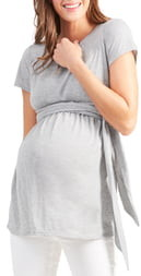 Ingrid & Isabel Short Sleeve Tie Waist Maternity/Nursing Top