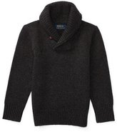 Ralph Lauren Cashmere Shawl-Collar Pullover Sweater, Heather Gray, Size 2-7