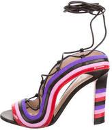 Paula Cademartori Crazy Stripe Lace-Up Sandals w/ Tags