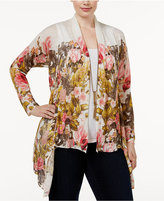 INC International Concepts Plus Size Draped Floral-Print Cardigan, Only at Macy's