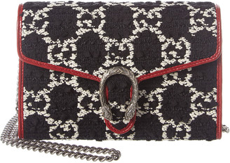 Gucci Dionysus Mini Tweed & Leather Wallet On Chain
