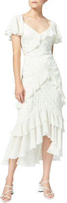 Three floor Perle Tiered Ruffle Midi Dress