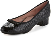 Taryn Rose Freed Embossed Leather Ballerina Pump, Black Pattern