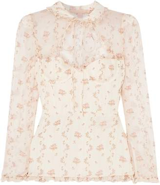 Brock Collection Cutout Ruffle-trimmed Floral-print Silk-gauze Blouse