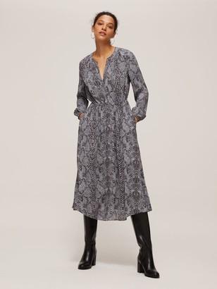 John Lewis & Partners Python Print Gathered Neck Midi Dress
