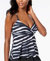 CoCo Reef Printed Diamond-Wrap Underwire Bra-Sized Tummy-Control Tankini Top Women's Swimsuit