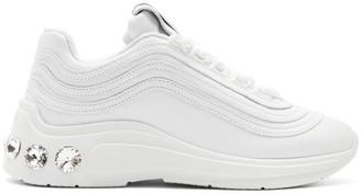 Miu Miu White Crystal Chunky Sneakers