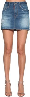 DSQUARED2 Cotton Denim Mini Skirt