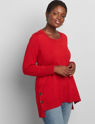 Lane Bryant Lane Essentials High-Low Button-Hem Sweater
