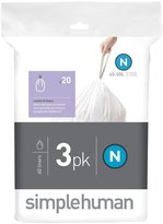 Simplehuman code N custom fit liners 3 x 20pk (60 liners) - White