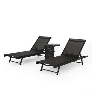 Christopher Knight Home Salton Outdoor Aluminum Chaise Lounge Set with C-Shaped End Table