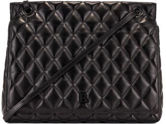 Balenciaga Large Quilted Leather B Shoulder Bag in Black | FWRD