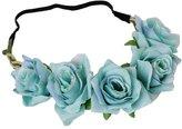 YAZILIND Wedding Bridal Flower Wreath Headdress Beach Rose Floral Crown Garland Stretchy Headband Photo Props(Claret)