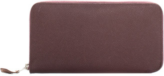 Hermes Burgundy Clemence Leather Azap Classic Zip-Around Wallet