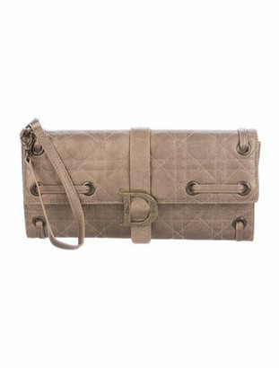 Christian Dior Quilted Cannage Wristlet Brown