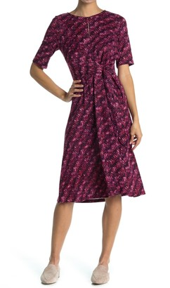 London Times Short Sleeve Tie Waist Midi Dress (Petite)