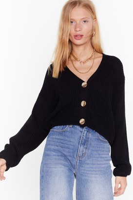 Nasty Gal Womens V the One Button-Down Cropped Cardigan - black - S