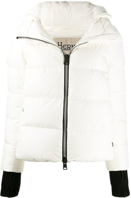 Herno Contrasting Cuffs Zipped Jacket