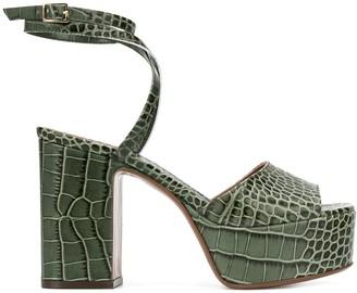 L'Autre Chose Crocodile-Effect Platform Sandals
