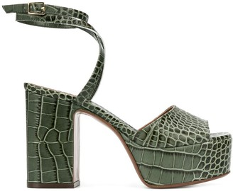 L'Autre Chose crocodile-effect platform sandals