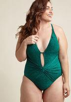 ModCloth Twist Come True One-Piece Swimsuit in Spruce in 14