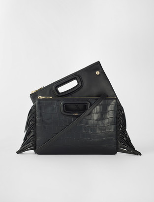 Maje Crocodile embossed-leather M Duo clutch