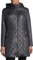 Via Spiga Quilted Coat with Hood, Gunmetal